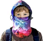 ZukoCert Kids Balaclava Skiing Neck Gaiter Winter Windproof Hat Skimask Thick Warm Fleece Face Cover For warm