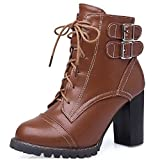 AmoonyFashion Women's Lace up Round Closed Toe High Heels Low Top Boots, Brown, 32