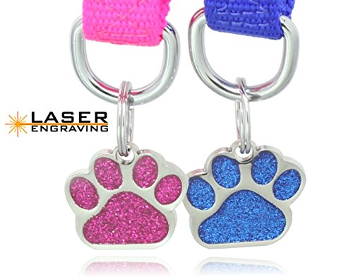 Laser Etched Glitter Paw Pet ID Tags Custom Personalized for Dog & Cat Paw Print Tag (1) (Pet Paw Id Tag)