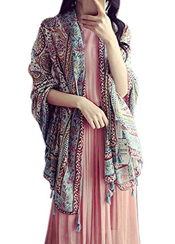 Women's Boho Bohemian Oversized Fringed Scarf Wraps Shawl Sheer Gift (08)