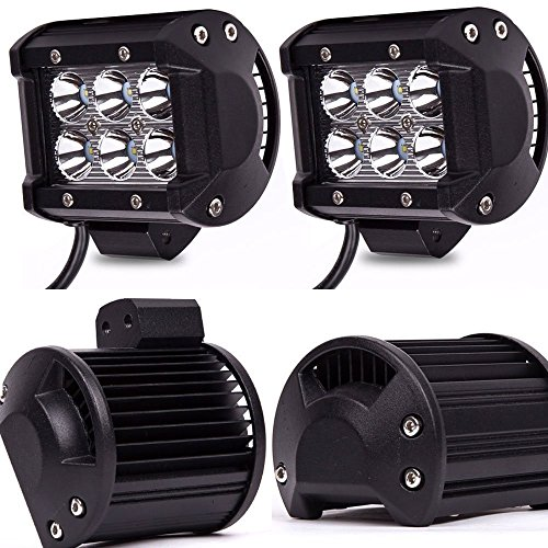 TURBOSII 4Pcs 4Inch Spot Beam 18W Led Work Light Bar Pods Cube Driving Fog Lights For Ford Jeep Toyota Polaris RZR Ranger Can Am Boat Offroad 4wd Truc