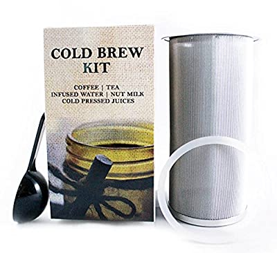 KLEIN Cold Brew Kit – Cold Brew Coffee Maker – Wide Mouth Mason Jar Filter for Brewing Coffee Concentrate and Infused Tea at Home – 100 Micron Mesh – Stainless Steel – Free Spoon & Silicone Seal