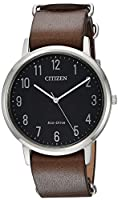 Citizen Men's 'Eco-Drive' Quartz Stainless Steel and Leather Casual Watch, Color:Brown (Model: BJ6500-04E)