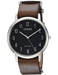Citizen Mens Eco-Drive Quartz Stainless Steel and Leather Casual Watch, Color:Brown (Model: BJ6500-04E)