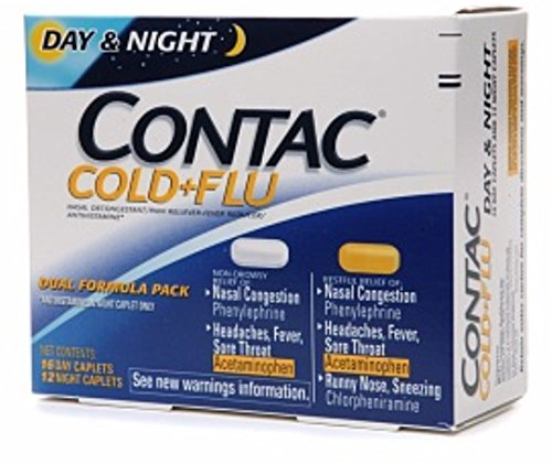 Contac Cold + Flu Dual Formula Pack 16 Day Caplets/12 Night Caplets 28 ea (Pack of 5) by ALAVEN PHARM
