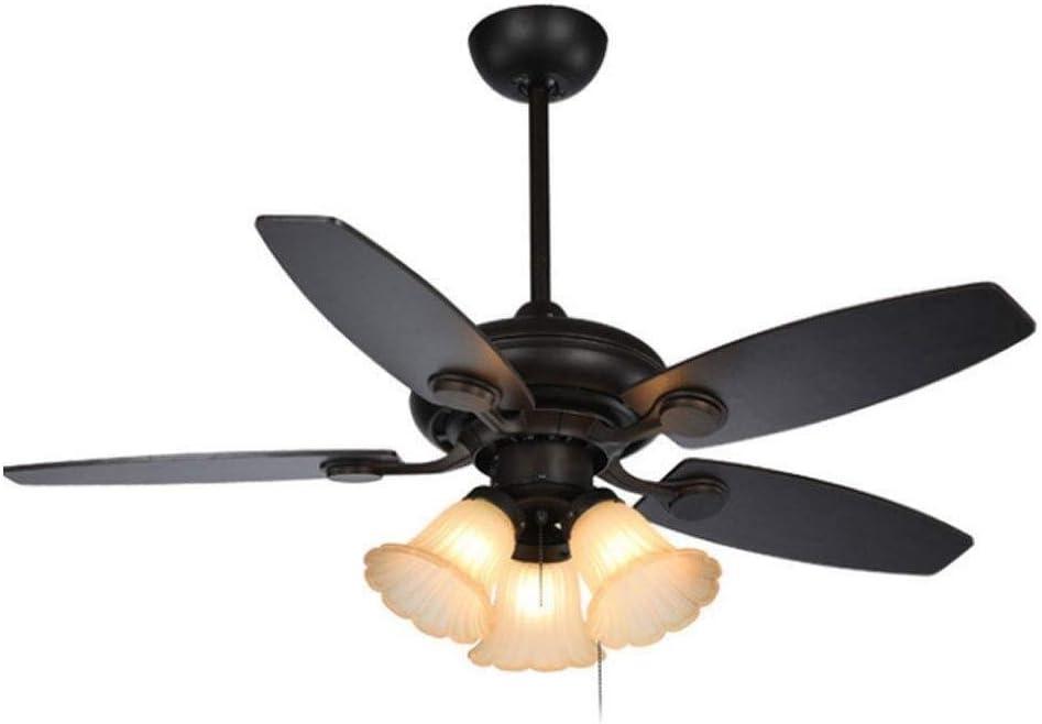 ZCCYMX1996 Lámpara, la luz de la lámpara del ventilador ventilador de techo 3 cabezas de la lámpara colgante de cristal Pantalla silencioso del motor for Sala Comedor E27 único dormitorio de la lámpar