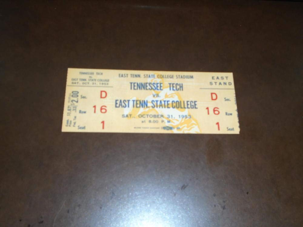 1953 TENNESSEE TECH AT EAST TENNESSEE STATE COLLEGE FOOTBALL UNUSED FULL TICKET