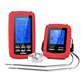 Adoric Digital Wireless Meat Thermometer, Smoker Thermometer, Cooking Thermometer with Dual Stainless Steel Probes, Grill Thermometer for Oven/ Kitchen/ Smoker/ BBQ/ (Bonus Oven Clip)