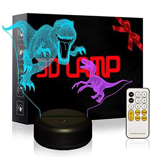 3D Night Light for Kids, Dual-Color Smart Touch Remote Control USB & Battery Powered 7 Colors Changing Dinosaur Bedside Desk Lamp Toys for Baby Kids Adults Lover Friends -