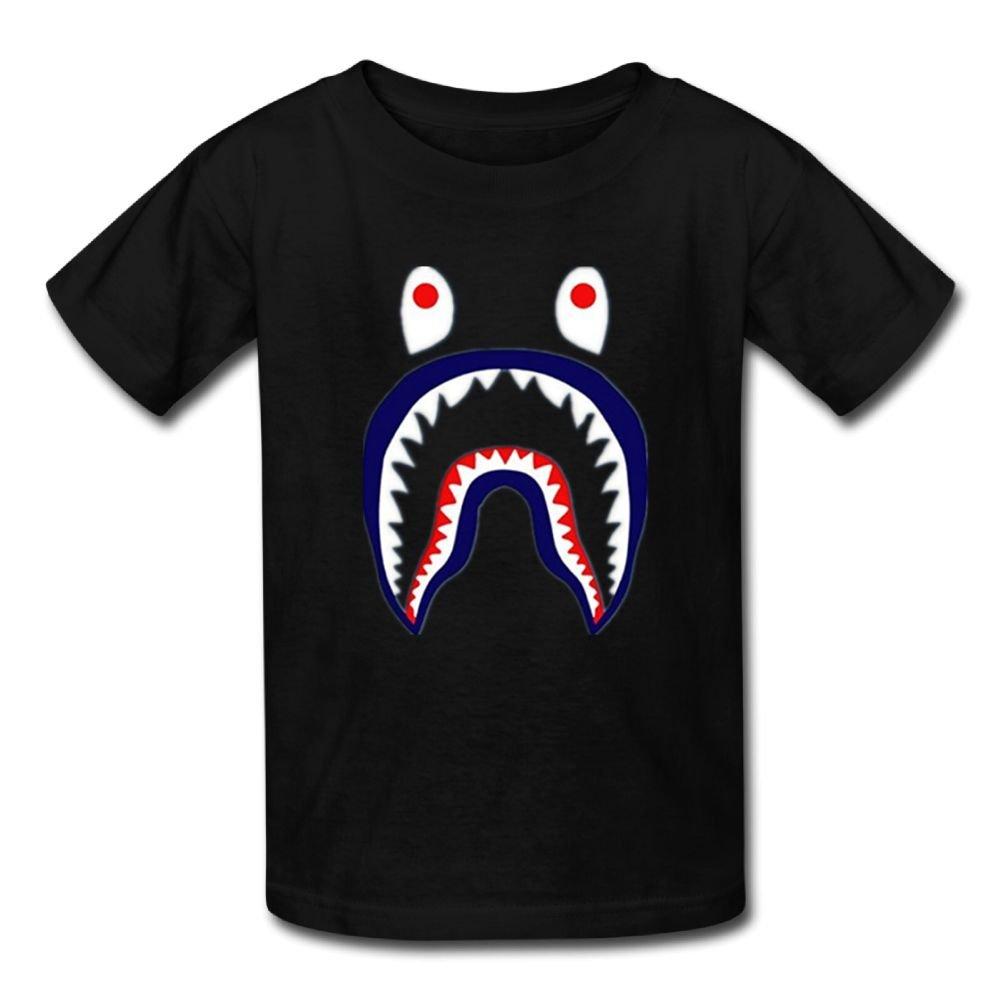 Suit-U Special Bape Shark.PNG Cotton Boys Unique Novelty Funny T Shirt Black