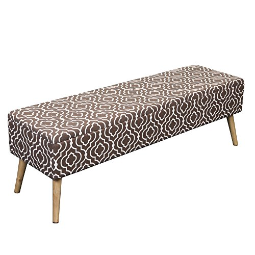 "Otto & Ben 52"" Storage Bench Mid Century Ottoman with Easy Lift Top Upholstered Shoe Seats for Entryway and Bedroom, Moroccan Brown"