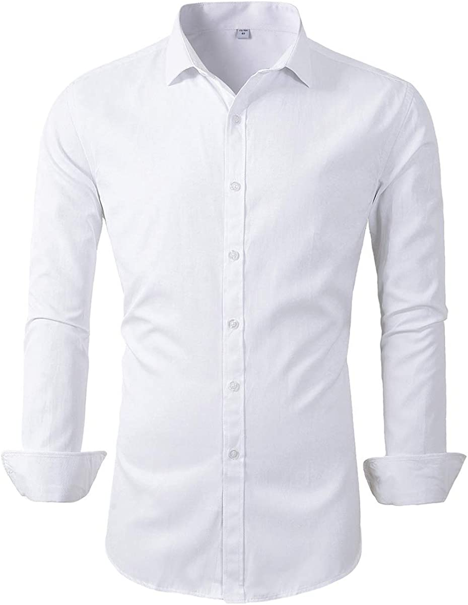 Beninos Mens Long Sleeve Slim Fit Dress Shirts at  Men's Clothing store