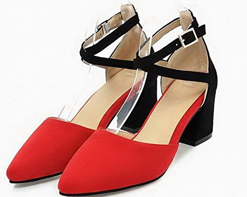 Kitten VogueZone009 Red Closed Frosted Assorted Women Color Toe Sandals Heels 4wRpSwq