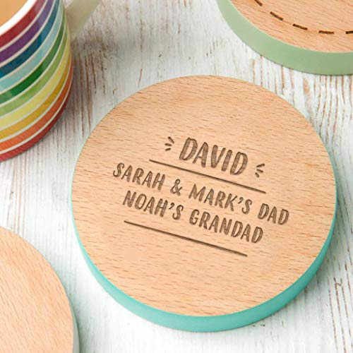 Name Coaster - Dad Grandpa Gifts - Personalized Grandfather Gifts - Wooden Engraved Beech