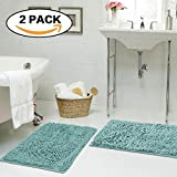 FlamingoP Super Soft Microfiber Bathroom Rugs Non Slip Shag Bath Mat for...
