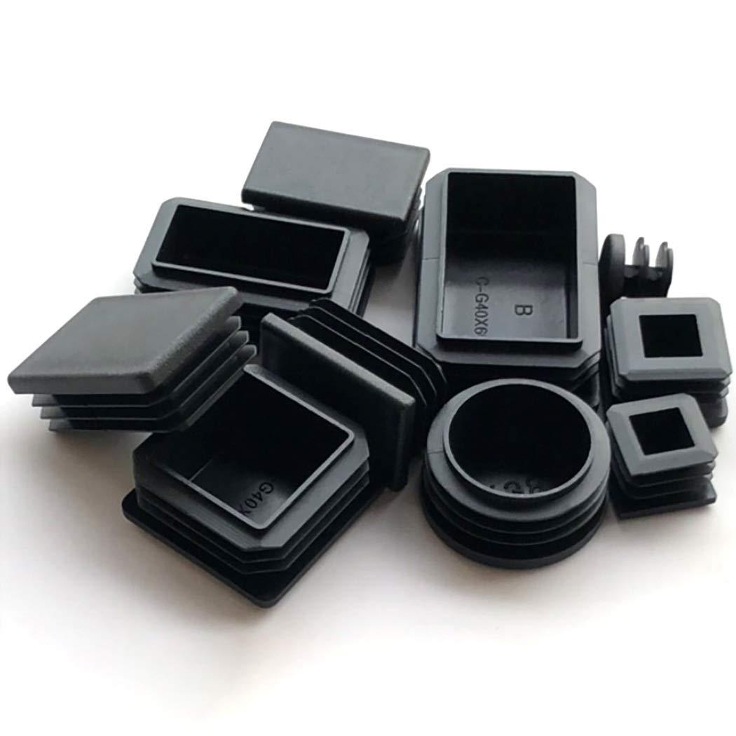 2x Black Plastic Post Caps End Square Inserts 50x50mm