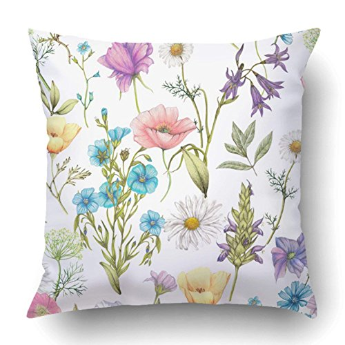 GHEDPO Throw Pillow Covers Flower Hand Drawn Wildflowers Botanical Artistic Beauty Bloom Blossom Briar 18 x 18 Inch Square Hidden Zipper Polyester Home Sofa Cushion Decorative Pillowcase ()