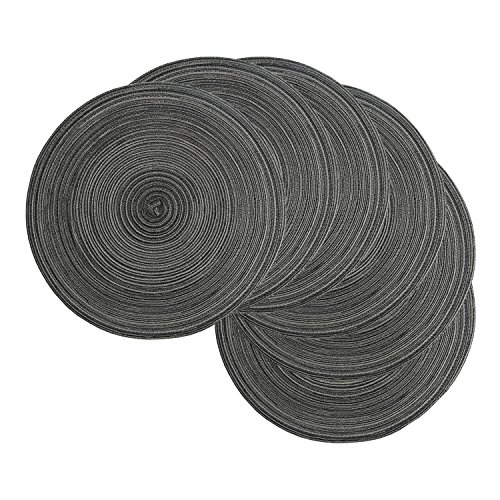 famibay Round Placemats, Round Braided Place Mats for Dining Table Heat Insulation Table Mats for Kitchen 15 Inches (Set of 6,Black) (Round Table Dining 6)
