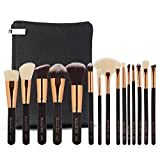 Expxon 15PCS Wood Handle Synthetic Oblique Top Buffer Brush for Face Liquid Foundation