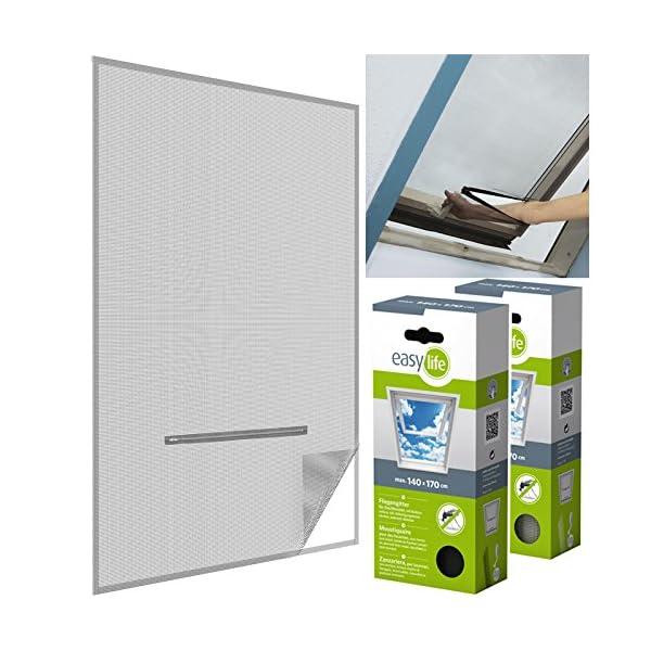 51m3T5ljYHL easy life Fliegengitter für Dachfenster 140 x 170 cm in anthrazit Eingriff mit Reißverschluss - auch in weiß wählbar