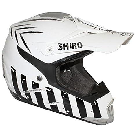 Casco Moto Cross Shiro MX-305 de Escorpio, Color Blanco y Negro, (