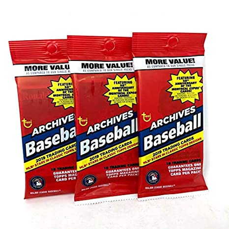 Amazon.com: Topps 2019 Archives Baseball Retail Fat Pack (3 ...