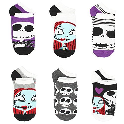 The Nightmare Before Christmas Womens 6 pack Socks (9-11 (Shoe: 4-10), Jack Sally Purple) (Adult Disney Characters)