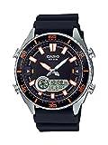Casio Men's 'Ana-Digi' Quartz Metal and Resin Casual Watch, Color:Black (Model: AMW-720-1AVCF)