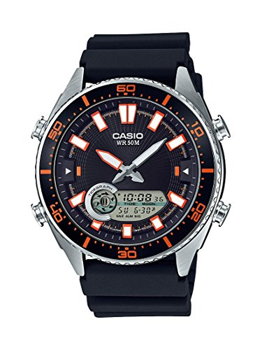 - Casio Men's 'Ana-Digi' Quartz Metal and Resin Casual Watch, Color:Black (Model: AMW-720-1AVCF)