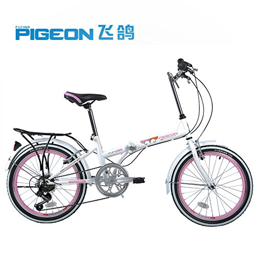 "Flying Pigeon 20"" Folding Bike City Fashionable Foldable Bicycle-6 Speed Freewheel High Carbon Steel Frame (Pink)"