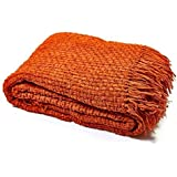 "Luxury Chunky Chenille Knitted Sofa / Bed Throw Blanket in 7 Colours & 4 Sizes (152cm x 203cm (60"" x 80""), Bronze Orange)"