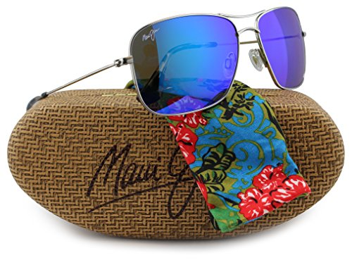Maui Jim B246-17 Wiki Wiki Sunglasses Silver w/Blue Hawaii B246 17 59mm - Wiki Wiki Maui Jim