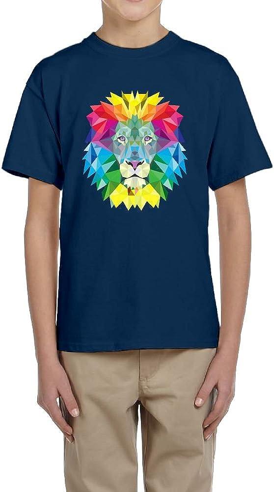 Fzjy Wnx colorful Lion Head Youth Crewneck Short-Sleeve Of T-Shirt For Boys