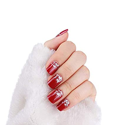 Uñas postizas cortas de color rojo decoradas con purpurina, 24 ...