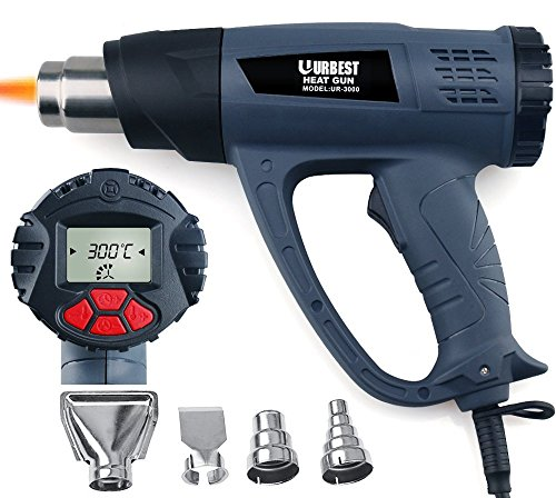 Heat Gun Hot Gun Hot Air Blower Tablet URBEST Heat Gun with LCD Display 1500W Wireless Heat Gun Wind Control Memory Function Hot Air Gun Kits(Memory Function Heat Gun) -