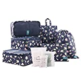 Tuscall Packing Cube | 6 Piece Travel Packing Organisers Set | Waterproof Luggage Cubes for Backpack, Carry on Luggage, or Home Use (Flamingo)