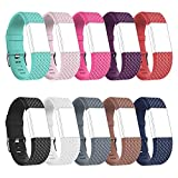 RedTaro Replacement Elastomer Wristband for Fitbit Charge 2, Large (6.5-9.0)-Inches, 997 - 10 Plain Colors (Diamond Design)