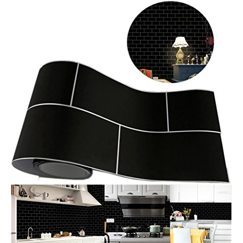 Wall Floor Decor Backsplash - Hometom Stick On Tiles For Backsplash Removable Wall Tile Stickers Kitchen Bathroom Decor 8197 Inch (Black)