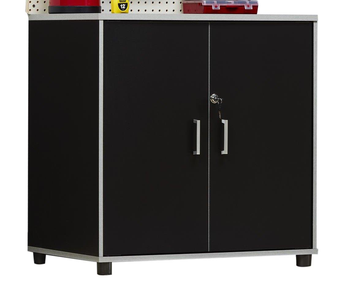 Ameriwood Home 7466056COM Apollo 2 Door Base Cabinet Systembuild 2 Black