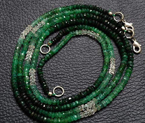 GemAbyss Beads Gemstone 1 Strand Natural 18 Inches Stands AAA Gems Quality Natural,Super Rare Multi Emerald Faceted Roundels Beads Necklace 3.5 to 4 MM Code-MVG-28463