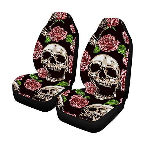 (InterestPrint Universal Fit Custom Skulls and Pink Roses Protector Two Front Car Seat Covers Set -100% Breathable)