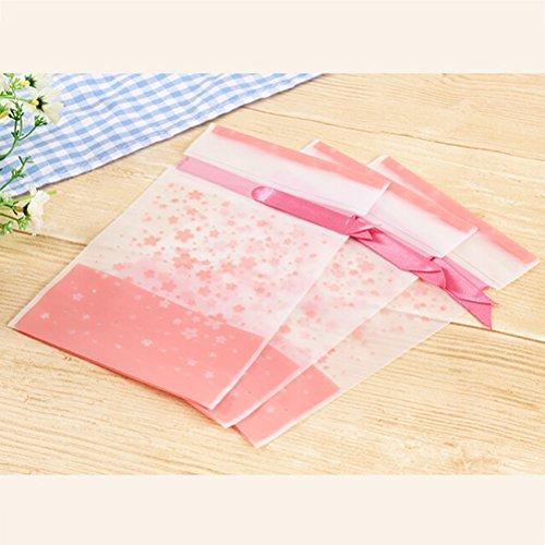 Sacs Rubans Emballage avec Bonbons Plastique Jaune Traiter Rougir Sac Cello Plat Boulangerie des de Blossom Cellophane 50PCS Cherry BESTONZON Z6TqPw