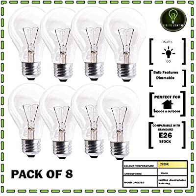 Perlite 8-Bulbs Of 60W A19 Clear Medium E26 Base Crystal Clear Incandescent Rough Service Household Light Bulb
