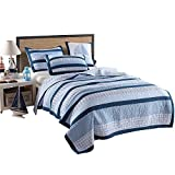 Artextile Blue Stripe and Stars Print Kids Boy Bedding Skincare Cotton Reversible Patchwork Coverlet Bedspread 2 Pcs Quilt Set (XL Twin(68''x 86''), Blue Stripe)