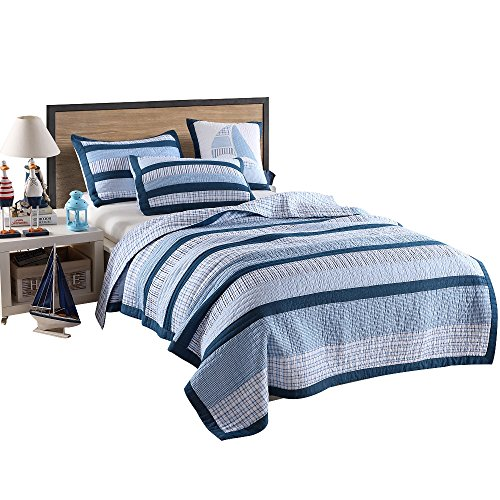 Country Twin Size Bed - Artextile Blue Stripe and Stars Print Kids Boy Bedding Skincare Cotton Reversible Patchwork Coverlet Bedspread 2 Pcs Quilt Set (XL Twin(68''x 86''), Blue Stripe)