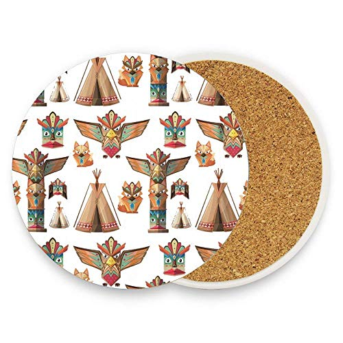Jugbasee Animal with Totem Poles Artistic Bird Clip Clip Clipart Craft Culture Coaster for Drinks Absorbent Stone for Drink with Cork Backing,Pack Of 1