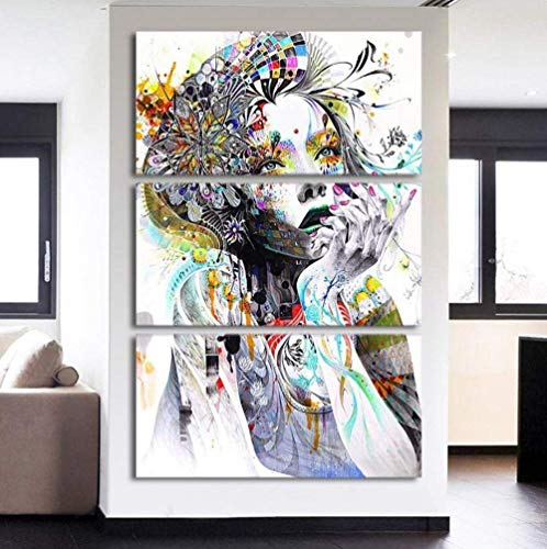 Epikkanvas 3 Pcs Framed PSYCHEDELIC GIRL for your Home Office Space Large 40cmx60cmx3pcs 16x24inchx3pcs