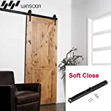 WINSOON Arrow Pulley Metal Flat Rail Wide Opening Sliding Single Barn Door Roller Track Hardware Kit With Soft Close System (7.5FT)