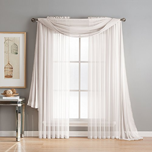 Window Elements Diamond Sheer Voile 56 x 216 in. Curtain Scarf, White (Solid Window Sheer Voile)
