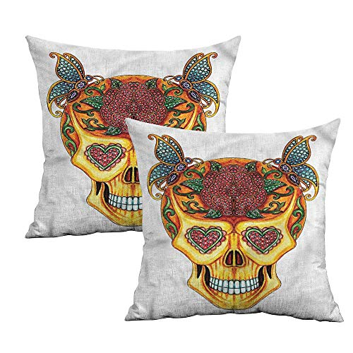 Khaki home Day of The Dead Square Standard Pillowcase Heart Shaped Eyes Square Personalized Pillowcase Cushion Cases Pillowcases for Sofa Bedroom Car W 20